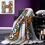 Letter H Warm Microfiber All Season Blanket Letter H Stacked from Gaming Balls Alphabet Sports Theme Competition Activity Print Image Blanket 62''x60'' Multicolor