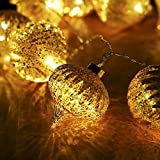 V&M VALERY MADELYN 7.2Ft Trendy Christmas Glass Ball Garland with 10 Led Lights in Rose Gold Color, Battery Operated