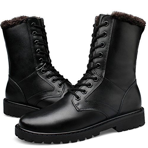 TAOFFEN Mens Winter Boots Warm Half Boots Lace Up Shoes Black FE9vehX