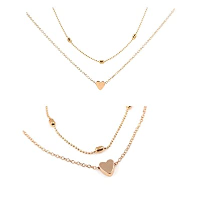 Amazon double chain peach heart simple pendant necklace simple double chain peach heart simple pendant necklace simple love choker necklaces jewelry for girls gold aloadofball Images