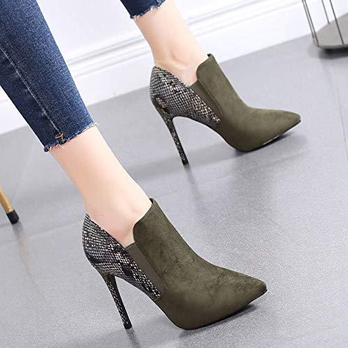 HRCxue Pumps Hochhackige Schuhe Frauen fein mit Mode tiefen Mund Damenschuhe Spitzen nackten Stiefel Martin Stiefel Frauen