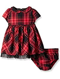 Baby-Girls Cotton Plaid Dress and Diaper Cover Set