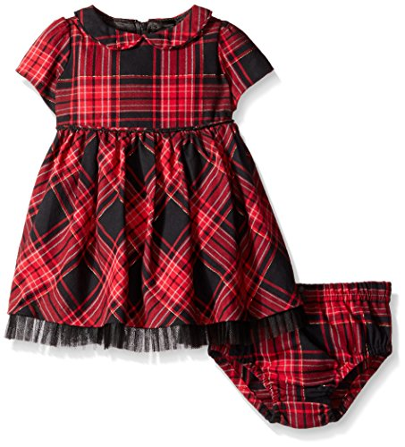 Hartstrings Baby Girls' Cotton Plaid Dress and Diaper Cover Set, Red, 24 Months (Hartstrings Cotton Dress)