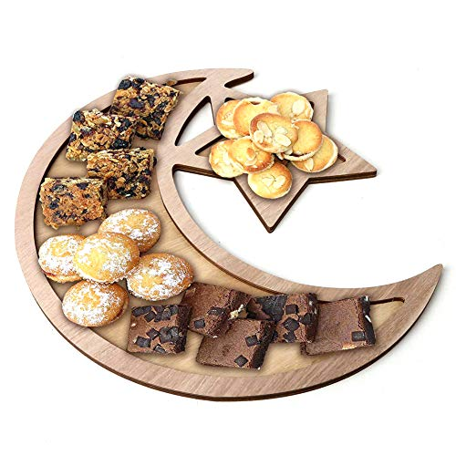 (Wooden Serving Tray Plate- Crescent Moon and Star Shaped Platter Dessert Pastry Tray for Home)