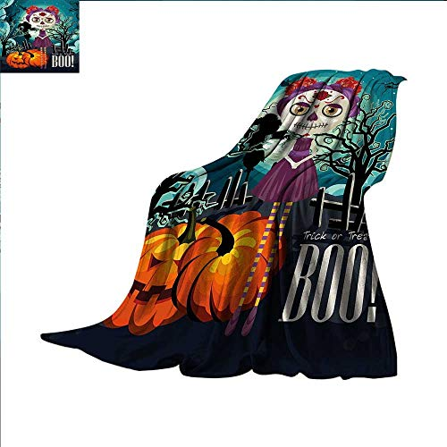 smallbeefly Halloween Throw Blanket Cartoon Girl with Sugar Skull Makeup Retro Seasonal Artwork Swirled Trees Boo Warm Microfiber All Season Blanket for Bed or Couch 90