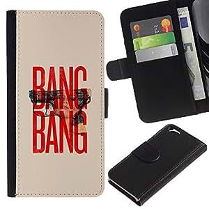 Planetar® Modelo colorido cuero carpeta tirón caso cubierta piel Holster Funda protección Para Apple (4.7 inches!!!) iPhone 6 ( Gun Text Red Beige Minimalist War )