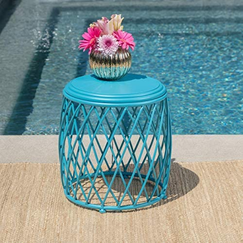 Christopher Knight Home 301940 Alameda Outdoor 15 Inch Lattice Iron Side Table Matte Blue