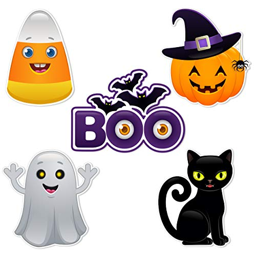 Halloween Spider Cut Out (Bella and Bentley Novelty Halloween Cutouts - Party Decorations Supplies for Kids - Pumpkin Ghost Black Cat Candy Corn Boo Spider Bat- 20)