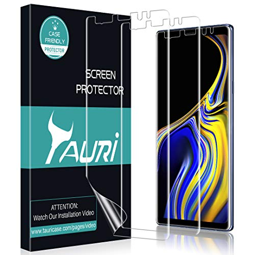 [3-Pack] TAURI for Samsung Galaxy Note 9 Screen Protector, Full Coverage Liquid Skin Screen Protector Case-Friendly Anti-Bubble HD Clear Flexible Film, Lifetime Replacement Warranty