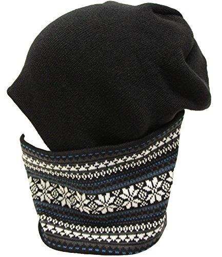 (エクサス)EXAS 雪柄ノルディックニットワッチ ネックウォーマー(ニット帽 ニット帽子)