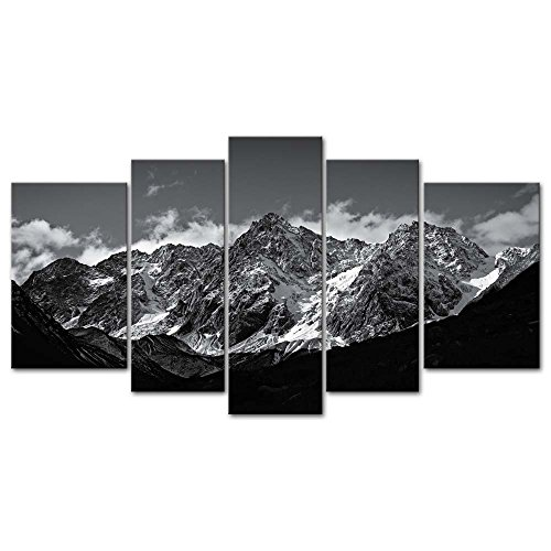 Canvas Wall Art Paintings For Home Decor Black And White Landscape Picture 5 Pieces Modern Giclee Framed Artwork The Pictures For Living Room Decoration Snow Mountain Photo Prints On Canvas]()