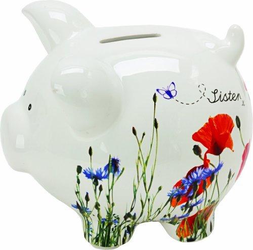 "Sister x Wild Flowers 5"" China Piggy Bank in Gift Box - Suki"