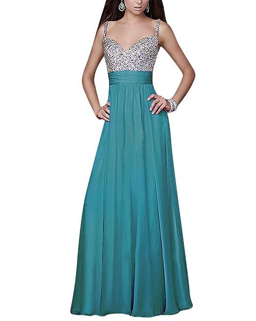 Mujer Vestido de Noche Elegante V Cuello Sin Espalda Maxi Vestido de Partido Largo Azul S