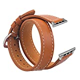 V-Moro 38mm Double Tour Leather Band with Metal Clasp for Apple iWatch 5.43-6.49 Inches – Brown Reviews