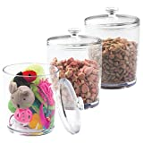mDesign Pet Storage Jar with Lid for Cat Food, Treats, Toys - Pack of 3, Medium, Clear