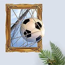 """BIBITIME World Cup Wall Art False Window Views Football Enter the net Soccer Ball Decal Sticker for Sports Fans Bedroom Nursery Chilren Kids Teens Rooms Home Art Murals DIY 16.9"""" x 20.8"""""""
