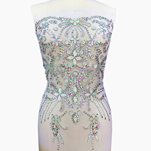 Noble Pure Handmade Big Beaded Crystal AB Color patches Sew on Rhinestones with Stones Sequins Beads Bridal Applique Designs Patches Sewing for DIY Wedding Dress Trim 38x56cm (AB)