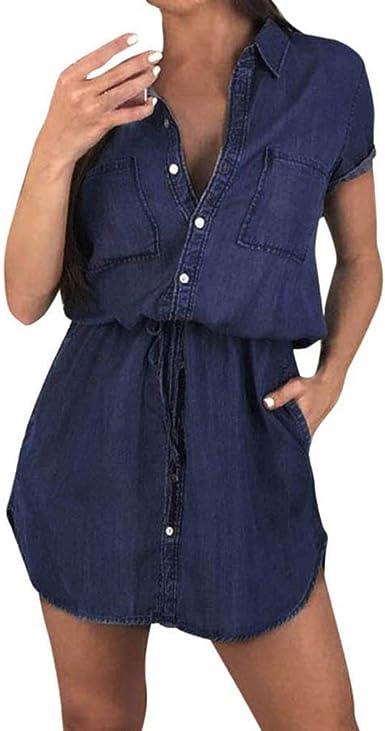 SHOBDW Vestidos Mujer Regalo Vacaciones Vestido De Camisa De Manga Corta Playa De Verano Vestimenta Casual Cuello En V Botón Suelto Talla Grande Novio Mini Vestido para Mujer: Amazon.es: Ropa y accesorios