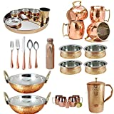 Ayurveda Benefit Pure Copper Dinnerware Thali Set 8 Mug Bowl Karahi Bottle Jug