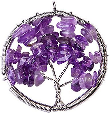 JOYA GIFT Tree of Life Keychain Natural Crystal Stone Handmade DIY Keychain Charm Pendant Necklace