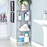 Bathroom Storage for Small Places LANGRIA 4-Tire Wire Small Corner Shelf Bathroom Storage, Free Standing Rack Display Shelf Kitchen Storage Wire Shelving,Silver