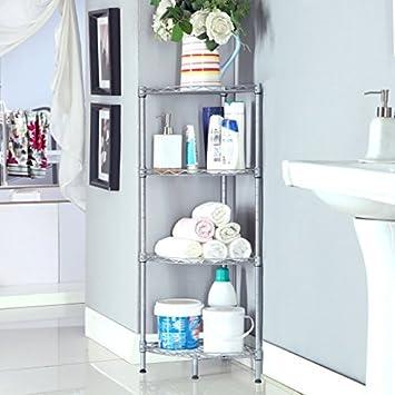 LANGRIA 4 Tire Bathroom Shelving Bathroom Corner Shelf, Corner Wire Shelf  Storage, Free