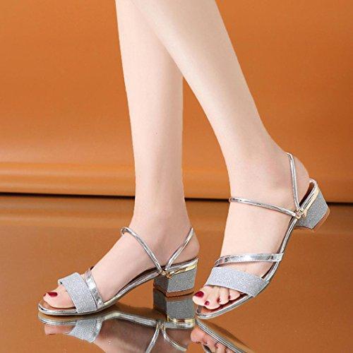 Medio Tacon Zapatos a Lentejuelas Cu Casuales Sandalias Mujer De Tac K Sandalias Verano Youth Plataforma a1wgp1q8z
