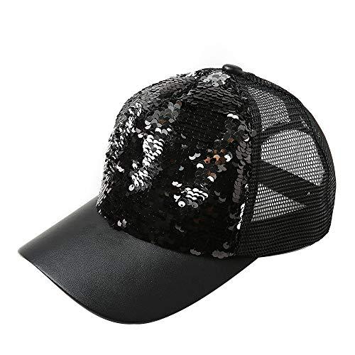 Yezijin Unisex Sequins Patchwork Mesh Cap Fashion Baseball Cap Outdoor Net Sun Hat (T-Black)