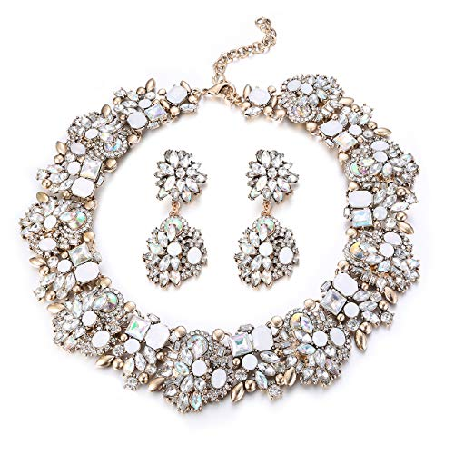 Udalyn Statement Necklace for Women Earrings and Necklace Set Rhinestone Vintage Fashion Costume - Chunky Vintage Necklace