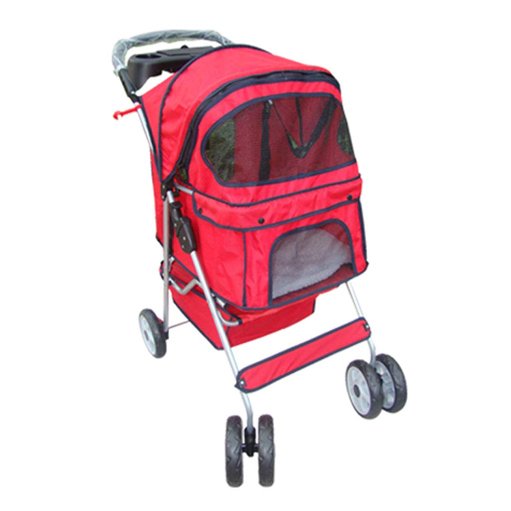 RED PLDDY Pet Bag Puppy Cat Pet Travel Stroller Pet Trolley Pushchair Rear Brakes Maximum Load 20kg Pet Bicycles (color   RED)