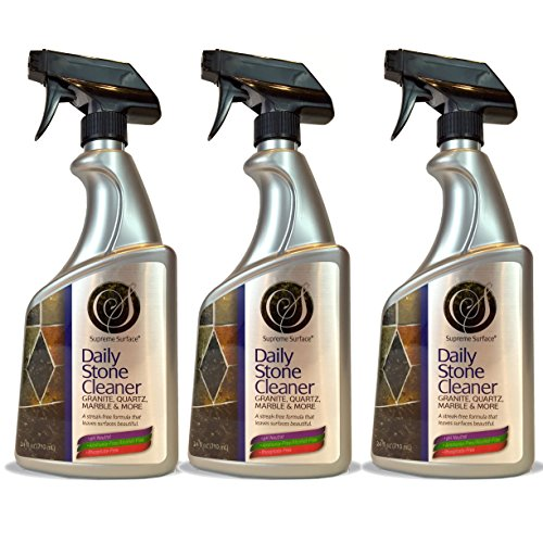 Supreme Surface Daily Stone Cleaner For Granite, Quartz, Marble and More (24 fl oz Spray Bottle 3 Pack) Surface Cleaner Spray Bottle