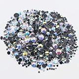 FairOnly 2500 unids Tamaño de la Mezcla CrystalAB Ronda Flatback Cristales Piedras De Cristal Piedras Y Cristales Strass Hotfix Rhinestones para Ropa crystalAB-G 2500PCS