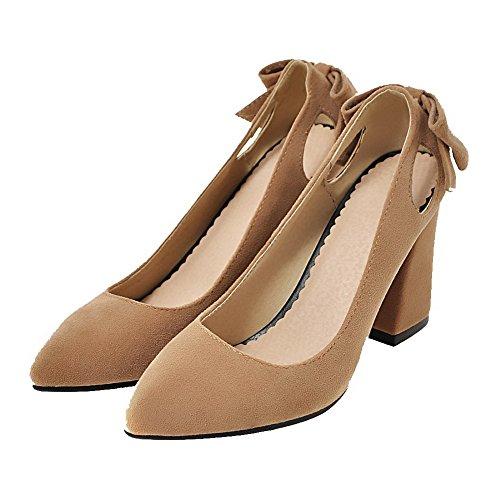 Chiusa Solido Indicate Donne Smerigliato Punta Delle Pompe Sul shoes Alti Weenfashion Tirare Talloni Giallo EXv8wv