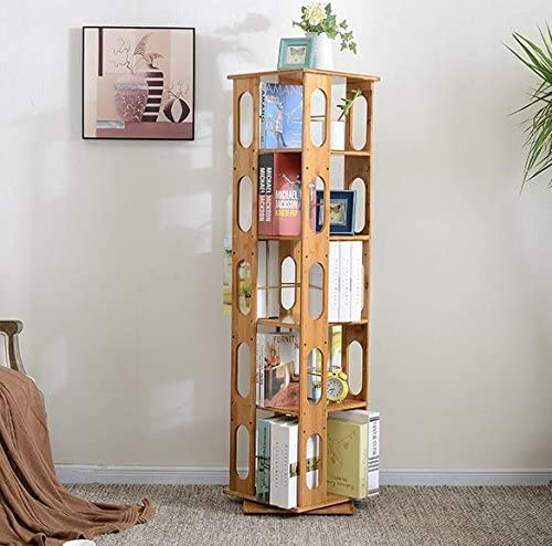 Clevr 5 Tier 57.5″ Natural Bamboo Bookshelf Revolving Bookcase,100 Natural Bamboo