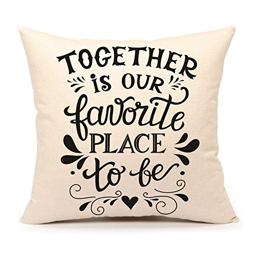Love Throw Pillow - Romatic Family Inspirational Love Quote Throw Pillow Case Cushion Cover Cotton Linen 18 x 18 Inch Home Decoration(Together Is Our Favorite Place To Be)