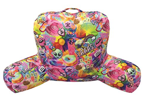 iscream Soft Fleece Lounge Pillow with Loop Handle (Psychedelic Collage - Polystyrene Bead Fill)