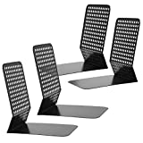 Modern Perforated Style Metal Office 4 Bookends Bookshelf Racks, Set of 2, Black