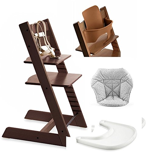 (Stokke Tripp Trapp High Chair, Baby Set - Walnut Brown, White Tray & Mini Baby Cushion - Cloud Sprinkle)