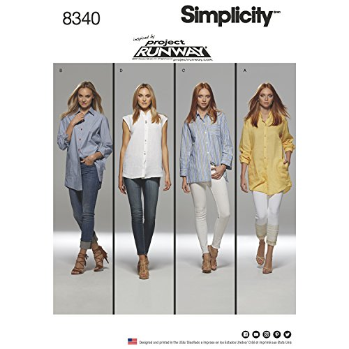 Simplicity 8340 Misses' Shirts with Length & Sleeve Variations, Inspired by Project Runway (SIZE 12-20) SEWING PATTERN