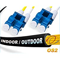 FiberCablesDirect - 200M OS2 LC LC Fiber Patch Cable | Indoor/Outdoor Duplex 9/125 LC to LC Singlemode Jumper 200 Meter (656.16ft) | Length Options: 0.5M-300M | Made In USA | lc-lc smf i/o single-mode