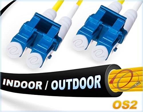 FiberCablesDirect - 50M OS2 LC LC Fiber Patch Cable | Indoor/Outdoor Duplex 9/125 LC to LC Singlemode Jumper 50 Meter (164ft) | Length Options: 0.5M-300M | Made in USA | lc-lc smf i/o Single-Mode ()