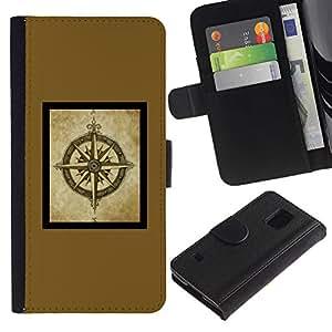 Planetar® Modelo colorido cuero carpeta tirón caso cubierta piel Holster Funda protección Samsung Galaxy S5 V SM-G900 ( Compass Brown Yellow Frame Poster )