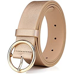 BestWare Round Buckle Belt Casual Belt Wide Leather Belt Women Belts Leather Pu Leather Belt gold