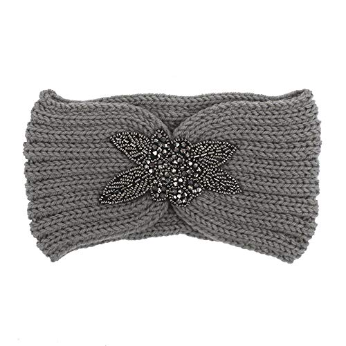iNoDoZ Women's Knitting Soft Cotton Headband Handmade Keep Warm Hairband Headwear Gray]()