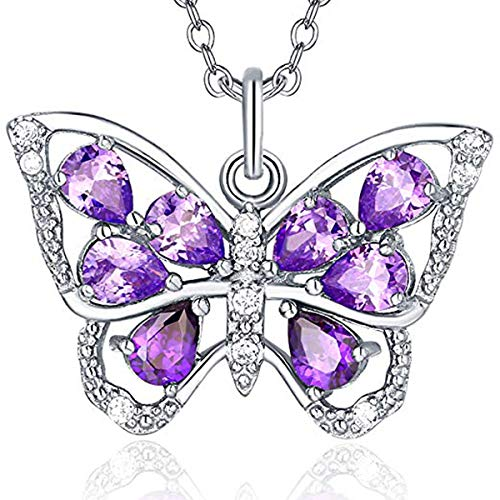 (Trensygo Butterfly Necklace Purple For Women and Girls Sterling Silver Cubic Ziconia Long Chain)