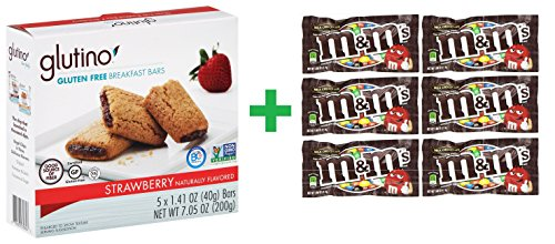 - Glutino Strawberry Breakfast Bars, 5 CT 1.42 OZ (Pack of 5) + (M&M milk chocolate 6ct /1.69oz)