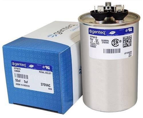 89M93 - 55 + 5 uf MFD 370 Volt VAC - Lennox Round Dual Run Capacitor Upgrade