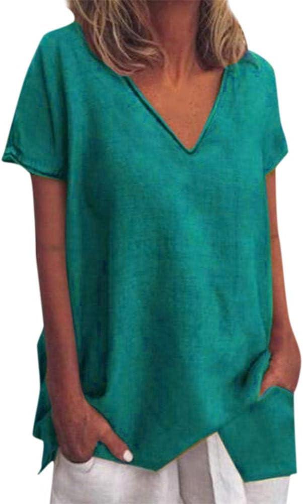 FELZ Camisetas de Manga Corta para Mujer Casual Suelta Color Liso con Cuello en V Blusa Lisa Verano Camisa de Playa Basica tee Verano Tops Casual t-Shirt: Amazon.es: Ropa y accesorios
