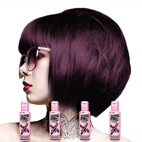 Crazy Colour Semi Permanent Hair Dye By Renbow Hot Purple No.62 (100ml) Box...