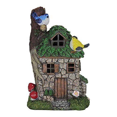 Exhart Miniature Fairy Garden Solar Stone Cottage with Leaf Roof and Birds